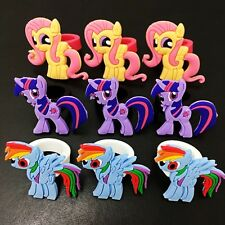 9PCS Kids Girls Rings My Little Pony Cartoon Rings PVC Rings Party Gifts