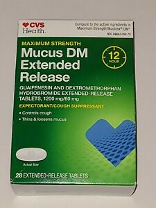 Mucus DM Extended Release CVS 1200 mg/60mg Max Strength 12 Hours 28Ct Exp. 10/21