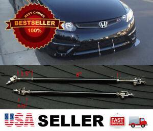 Black 8-11 adjustable extension Rod Bumper Lip Diffuser splitter For Honda Acura
