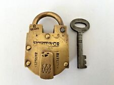 Lock 1930 Old Vintage Rare Brass Lock and Key Collectible Hobib & Co Aligarh