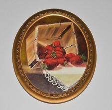 Original Oil Painting F. Philcox Basket of Strawberries  in Oval Frame