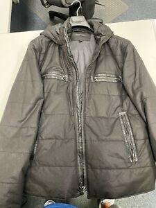 John Varvatos Men's Black XXL Cotton Hooded Zippered Jacket Coat - Unworn