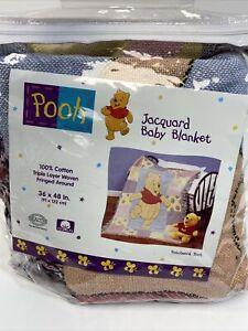 "Disney NEW Patchwork Pooh Jacquard Baby Blanket 36""x48"" Triple Layer Fringe"