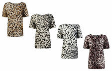 LADIES TOPS SHORT SLEEVE WOMENS T SHIRT TOP LEOPARD PRINT UK 12 14 16 18 BNWT