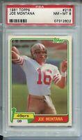 1981 Topps Football #216 Joe Montana 49ers Rookie Card RC Graded PSA NM Mint 8
