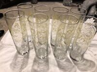 """Bacardi 7"""" Tall Cocktail Tumblers Drink Highball Glasses 8-120z Libbey Set of 8"""