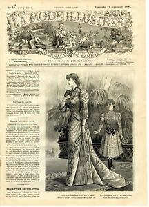 French MODE ILLUSTREE SEWING PATTERN Sept 21,1890  - Bride dress, Reception gown