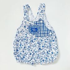 Vintage OshKosh Baby B'Gosh BlueFloral Teacup Bubble Romper Size 12 To 18 Month