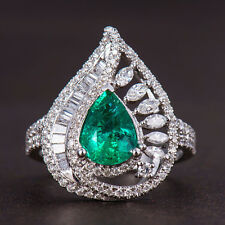 Natural Pear Green Emerald Marquise Baguette Diamonds Ring Solid 14K White Gold