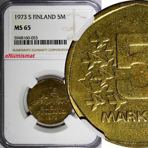 Finland Aluminium-Bronze 1973 S 5 Markkaa NGC MS65 TOP GRADED KM# 53 (053)