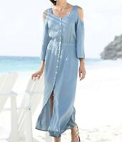 Size XL Soft Surroundings Boho Chic Blue Tencel Cold Shoulder Maxi Dress New