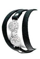 Black Silver Crystal Ribbon Faux Leather Vegan Wrap Bracelet