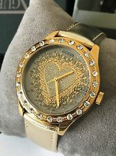 Guess Women's Gold Tone Leather Strap Heart Crystal Watch U0909L2 NWT Box