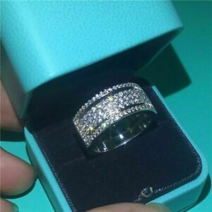 14K White Gold Men's Eternity Band Engagement Wedding Ring 4.1 Ct Round Diamond