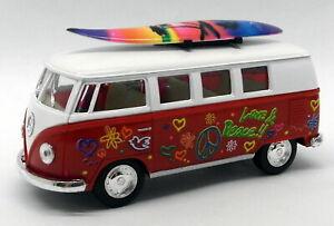 1962 VW Camper w/ Surfboard - Red - Kinsmart Pull Back & Go Metal Model Car