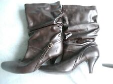 LADIE'S ( synthetic leather ) brown calf boots