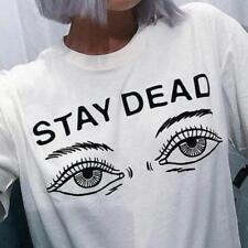 Women Summer Fashion T-shirt Printed Stay Dead Letter Round Neck T Shirt BS