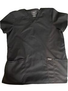 Cherokee Workwear Revolution Scrubs Women's V-Neck Top Black Uniform Smoke Free