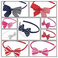 POLKA DOTS BOW ALICE BAND HEADBAND HAIR BAND WOMENS/GIRLS SPOTTY NAVY RED SCHOOL
