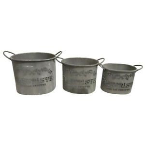 Set of 3 Tin Buckets with Handles Featuring French Wording & Floral Motif