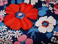 "4 Yds x 34"" Vtg Cotton Fabric MOD Flower Print Pillowcase Project Screen Print"