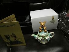 Kettle w/ Clock Trinket Box by Keren Kopal Austrian Crystal Jewelry box Faberge