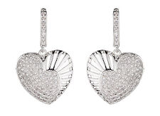 CLIP ON EARRINGS - silver heart earring with Cubic Zirconia stones - Nafisa S