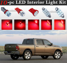 10-pc Red LED Interior Light Bulbs Package Kit Fit 2002-2010 Dodge Ram 1500 2500