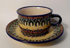 Kaffee / Tee Tasse mit Untertasse / Unterteller Bunzlauer Keramik 200 ml (ta28)