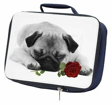 Pug (B+W Photo) with Red Rose Navy Insulated School Lunch Box Bag, AD-P92R2LBN