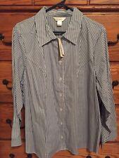 *NWT* CJ Banks Blue Stripe Button Up Shirt - 2X - FREE SHIPPING