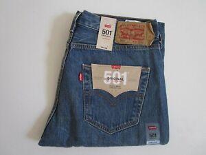 Levi's 501 Men's Ash Blue Straight Leg Button Fly Denim Jeans Size: 34 x 34