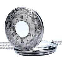 Antique Style Silver Quartz Pocket Watch Necklace Chain Luxury Simple Steampunk