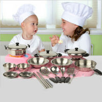32Pcs Set Kids Play House Kitchen Toy Cookware Cooking Utensils Pots Pans Gifts