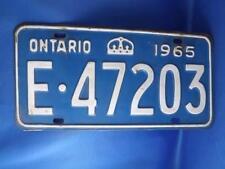 ONTARIO LICENSE PLATE CANADA 1965 E 47203 VINTAGE MAN CAVE CAR SHOP METAL SIGN