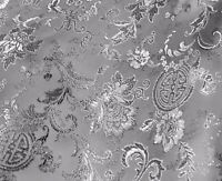 "Silver Floral Metallic Brocade Fabric 60"" Width Sold By The Yard"