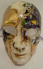 MAR 4 HANDMADE IN ITALY, PAPIER MACHE, MASQUERADE PARTY FULL FACE, PURPLE/GOLD
