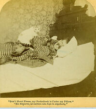 Stereoview Photo Sleeping Man Terrified Startled Scared by a Cat on his Bed 1890