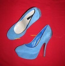 "H By Halston Blue 5.5"" Stiletto Heel Shoes Womens 8 Platform Pumps Suede New"
