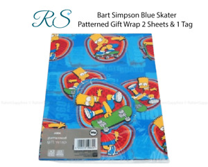 Bart Simpson Blue Skater Patterned Gift Wrap (2 Sheets & 1 Tag)