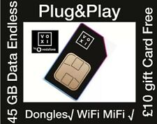 Voxi Preloaded 4G Sim card, 45GB data, £10 Free Gift Card For MiFi WiFi Dongle