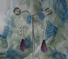 Pretty Dangle Pierced Earrings Purple Tear Drop Silver Tone Ball Beads Long Drop