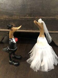Wedding Ducks LOVE BIRDS Hand Carved Wooden Bamboo Root