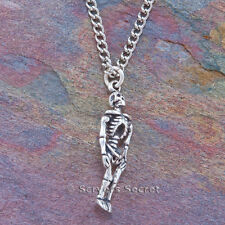 925 sterling silver SKULL FULL SKELETON BONES Gothic 3D Charm Pendant  Necklace