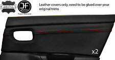 RED STITCH 2X REAR DOOR CARD TRIM LEATHER COVERS FITS MAZDA 3 03-09 5 DOOR