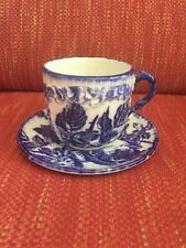 Mustache CUP & SAUCER  IRONSTONE STAFFORDSHIRE FLOW BLUE ENGLAND