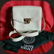 Vintage Gianni Versace Medusa Ivory White Flip Lock Shoulder Crossbody Bag