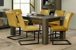 Constable / Sierra Fumed Oak 6 Seat Dining Set- Lewis Mustard Velvet Cantilevers