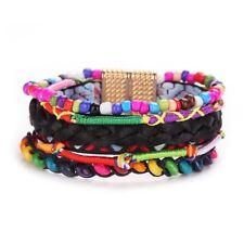 Women Fashion Multi-Layer Colorful Charm Bracelet Wide Braided Magnet Wrap Cuff
