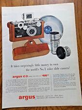 1956 Argus C-3 Camera Case Flash Ad  No. 1 Color Slide Camera